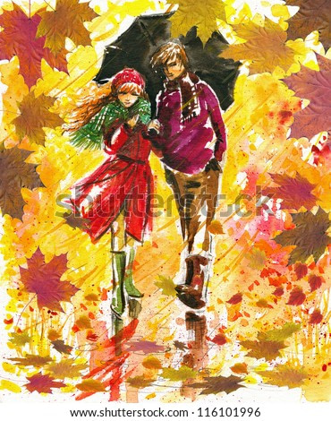 Couple walking at alley in autumn park.Picture I have created with watercolors.