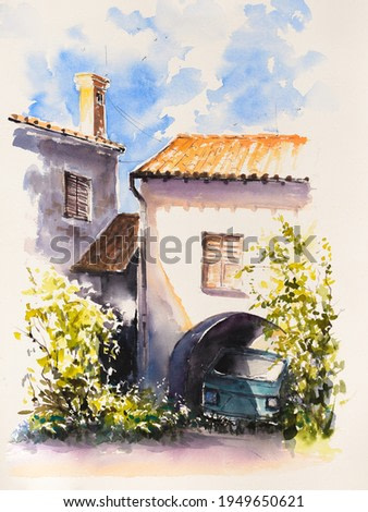 Old rustic Mediterranean traditional house facade wall. Watercolors painting.