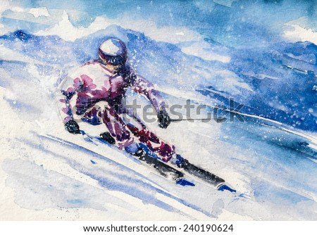 Mountain skier slides from the mountain. Picture created with watercolors.