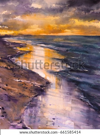 Beautiful colors after sunset on a beach.Picture created with watercolors.