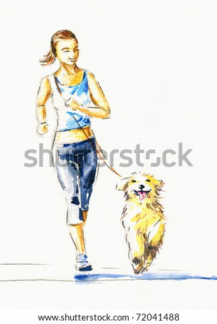 Young woman running with dog.Picture I have created with watercolors.