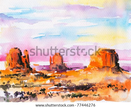 Illustration of Monument Valley at sunset.Picture I have created with watercolors.
