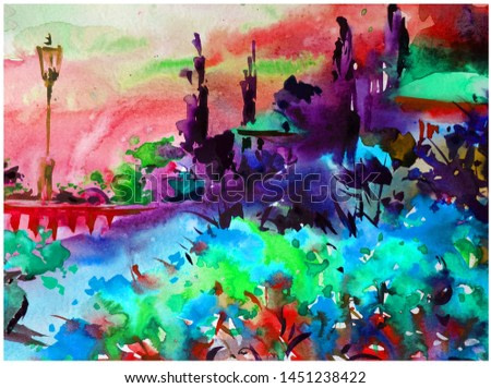 Watercolor colorful bright textured abstract background handmade . Mediterranean landscape . Painting of architecture and vegetation of the sea coast , made in the technique of watercolors from nature