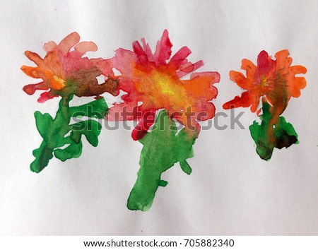 kids painting mother day  handmade  watercolor art background  flower red happy celebrities present