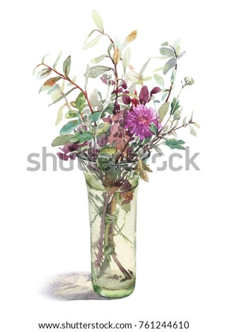 Exquisite watercolor bouquet with pink chrysanthemum and leaves of blueberry in a glass vase. Graphic image of flowers isolated on a white background.