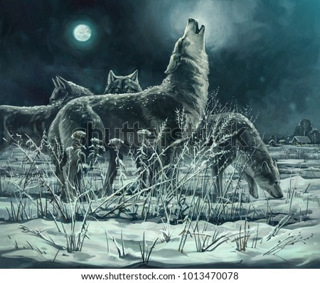 Flock of wolves at night, the leader howls to the moon. Digital paint.