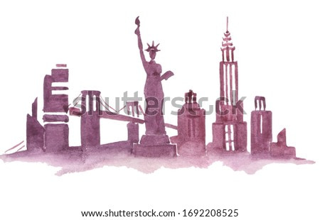 Silhouette of the city in watercolor. New york. Watercolor illustration. New York city on a white background.