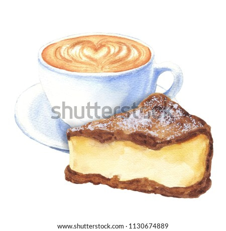 Hand drawn watercolor coffee with chocolate cake, cappuccino cup with saucer, isolated on white background. Delicious food illustration.
