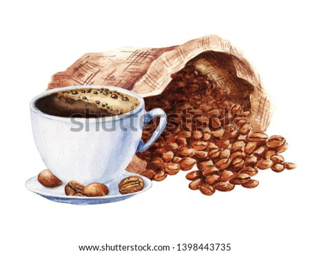 Hand drawn watercolor cup of black coffee with sack of beans isolated on white background. Food illustration.