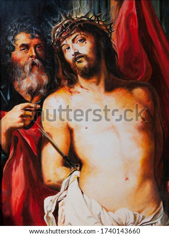 Christ in the crown of thorns. Canvas, oil.