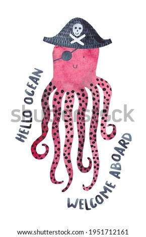Cute pirate octopus. Watercolor illustration ready for print.