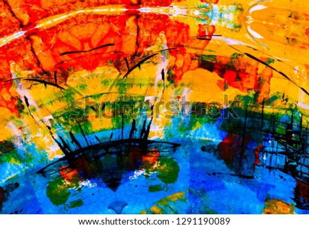 Abstract painting backdrop on concrete wall. 2d illustration. Various colorful patterns hand painted on flat surface. Painted rough surface. Handmade brush strokes.