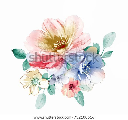 Flowers bring pure and fresh sense, the leaves and flowers art design
