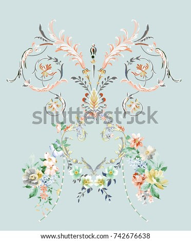 The visual enjoyment of flowers, the leaves and flowers art design