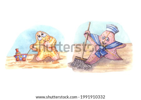 Watercolor children's cartoon illustration with sea characters. Sailor Starfish washes the deck of the ship. The kid looks at the sailor with admiration.