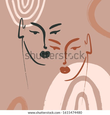 Boho Pastel Terracotta Collage Line Drawing African Black Women Couple Twin Faces Hairstyle Fashion Beauty Minimalist Vector Illustration Modern Abstract Graphics Print Clipart
