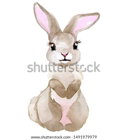 Watercolor illustration of Little bunny. Cartoon style character isolated on white. Perfect graphic for any projects, baby showers, invitations, greeting cards, nursery prints , posters and more