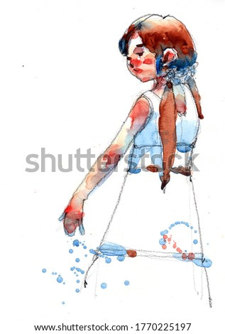 watercolor painting of cute fashion girl sketched, hand drawn on paper illustration scanned