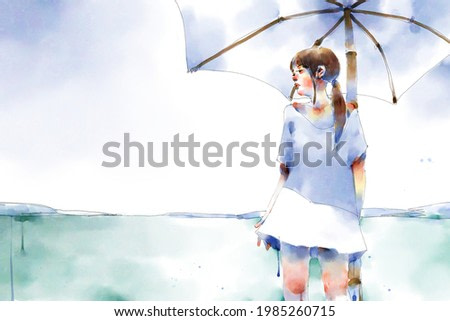 digital watercolor illustration painting of girl in white dresses under a straw umbrella on a beach near the sea.