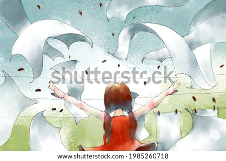 digital watercolor illustration painting of red dresses girl using magic with the clothesline.