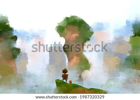 digital watercolor illustration painting of tourist girl with dog standing on the top of the mountain.