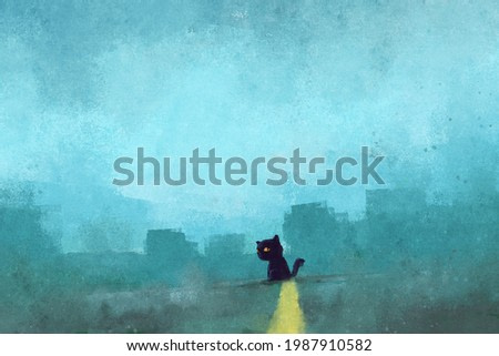 digital watercolor illustration painting of black cat in the road.