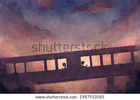 digital watercolor illustration painting of boy and girl with smartphone walking converse on walkway.
