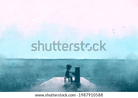digital watercolor illustration painting of boy playing piano on a wooden jetty at sea beach.