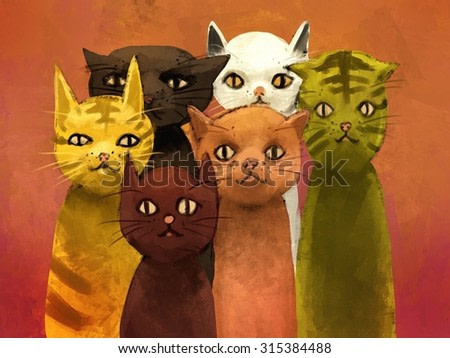 abstract digital painting of cats, oil color on canvas texture