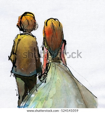 watercolor illustration of couple in wedding suite and dress, handmade traditional artwork scanned