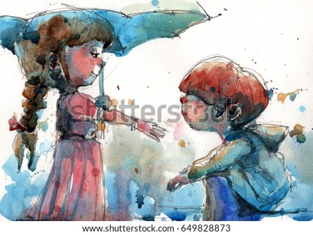 watercolor illustration of girl holding umbrella in front of the boy, handmade traditional artwork scanned