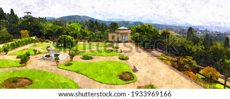 painting of a superb Italian garden near Florence, famous city of Tuscany