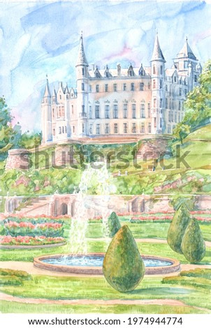Dunrobin Castle, garden and fountain on a summer day are painted with watercolors on paper. The ancient historic Dunrobin Castle in Scotland. Art for travel design.
