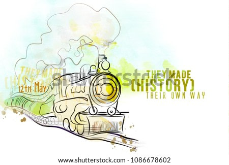 12th May Train Day Holiday. Vintage digital locomotive drawing. Colorful and watercolor style.