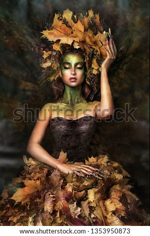 close up portrait of young beautiful girl with flower professional makeup. elf princess with flower crown on head.  Halloween makeup. bright face art. spring fairy of flowers. Nail art