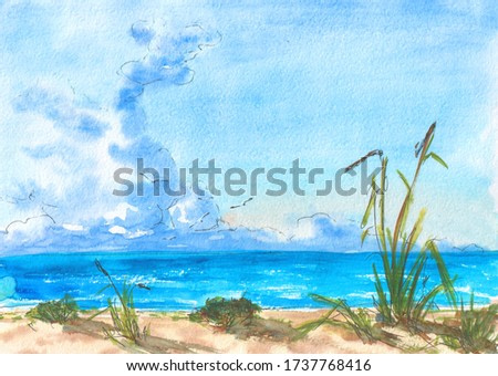 Clouds over a clear lake, summer, watercolor painting