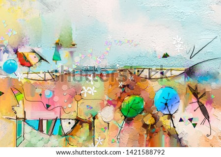 Abstract colorful fantasy oil, acrylic painting. Semi- abstract paint of tree, fish and bird in landscape. Spring, summer season nature background. Hand painted, children painting style
