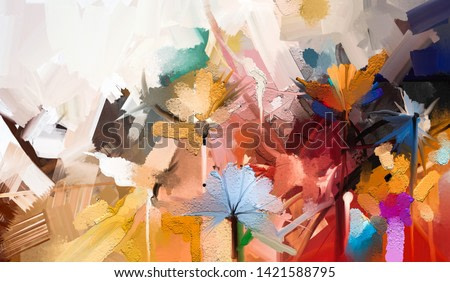 Abstract colorful oil, acrylic painting of spring flower. Hand painted brush stroke on canvas. Illustration oil painting floral for background. Modern art paintings flowers with yellow, red color.