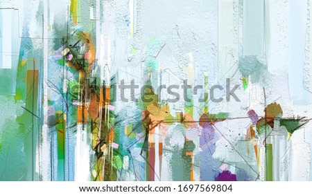Abstract colorful oil painting on canvas texture. Semi- abstract paint of landscape, tree, and flower. Modern art oil paintings nature with yellow, red color. Abstract contemporary art for background