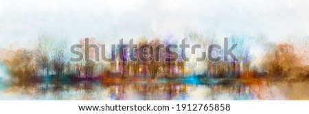 Illustration painting colorful autumn, summer season nature background. Abstract art image of forest, tree with yellow, red leaf, blue cloud in sky and lake with watercolor paint. Outdoor landscape