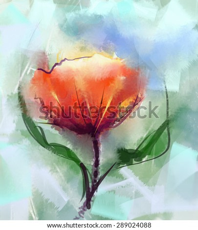 Closeup Abstract floral  paintings. Watercolor painting red poppy flower mix oil painting in background.Spring floral nature in soft green color  background