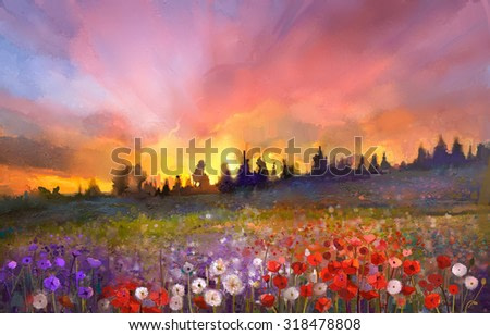 Oil painting poppy, dandelion, daisy flowers in fields. Sunset meadow landscape with wildflower, hill, sky in orange and blue violet color background. Hand Paint summer floral Impressionist style