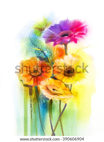 Abstract flowers watercolor painting. Hand paint still life of Yellow, Pink and Red color daisy- gerbera floral in soft color on white yellow, green color background. Spring flower nature background