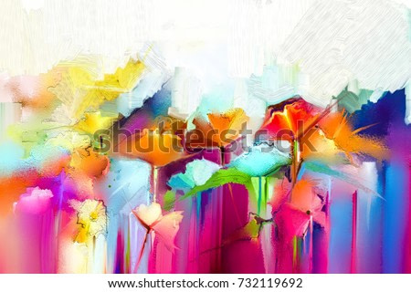 Abstract colorful oil painting on canvas. Semi- abstract image of flowers, in yellow and red with blue color. Hand drawn brush stroke, oil color paintings. Modern art oil paintings for background