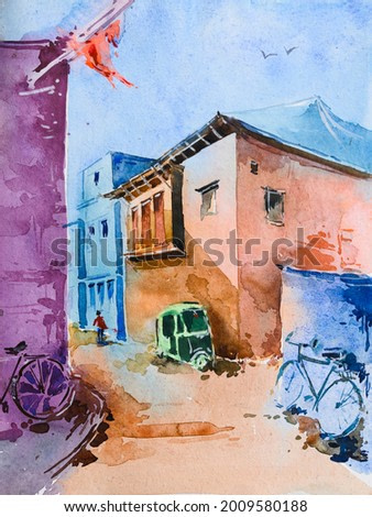 Watercolor painting of corner of urban lane, morning light. hand painted illustration. Includes bicycles, autorickshaw and a man passing.
