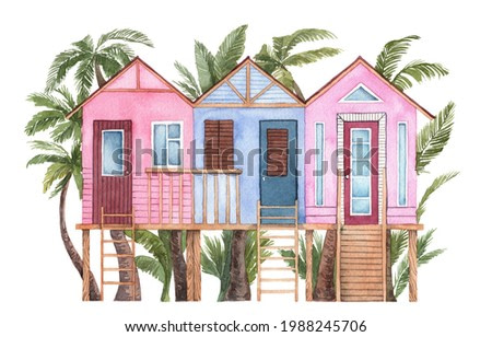Watercolor hand painted summertime illustration. Front view three bungalow staying on piles with ladder. Palm trees on background. Tiny beach houses. Illustration for post card, souvenirs and wall art