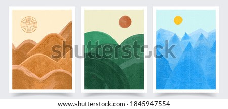 Vector illustration. Abstract contemporary aesthetic backgrounds set. Design for cover, poster, brochure, magazine, postcard, flyer, wallpapers. Interior wall decor. Watercolor painting. Nature scene