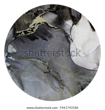 Alcohol ink. Abstract gray marble texture background in Circle. Modern fluid art.Natural luxury abstract fluid art painting in alcohol ink technique. Isolated on white