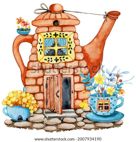 Tea house in the garden with flowers, cartoon teapot and cup with windows and doors. Hand drawn watercolor illustration isolated on white background. Cozy home, tea party, ceremony, kitchen utensils
