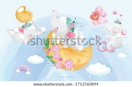 A cute little Elephant in colorful watercolor style Set.